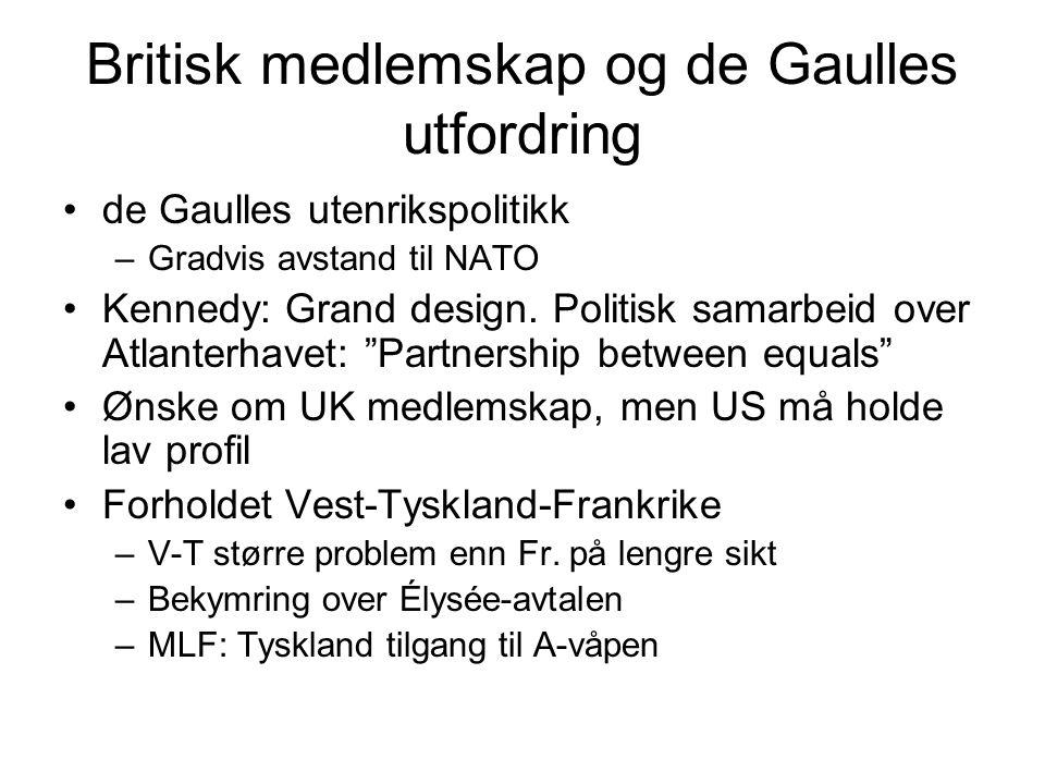 Britisk medlemskap og de Gaulles utfordring de Gaulles utenrikspolitikk –Gradvis avstand til NATO Kennedy: Grand design. Politisk samarbeid over Atlan