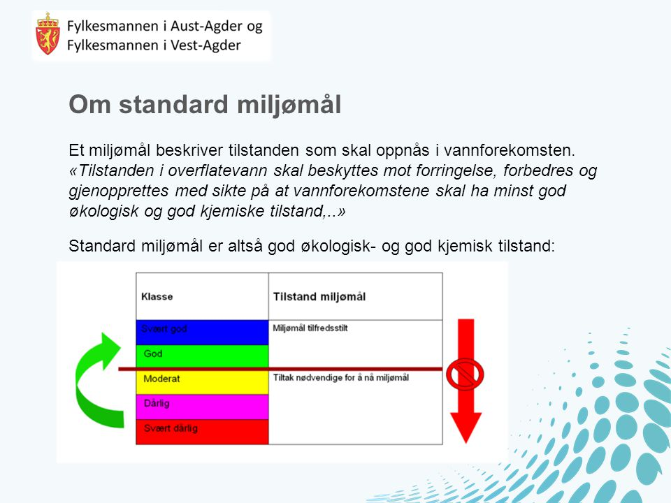 Om standard miljømål Et miljømål beskriver tilstanden som skal oppnås i vannforekomsten.