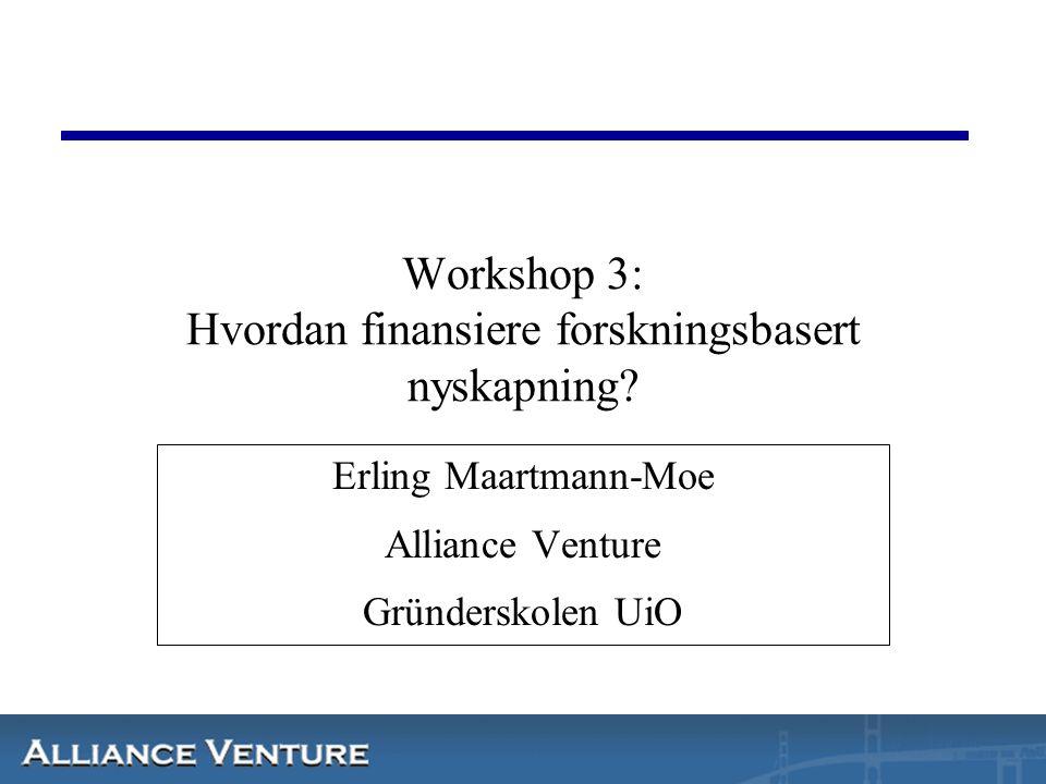 Workshop 3: Hvordan finansiere forskningsbasert nyskapning.