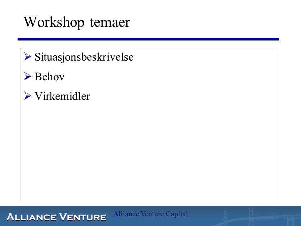 Alliance Venture Capital Workshop temaer  Situasjonsbeskrivelse  Behov  Virkemidler