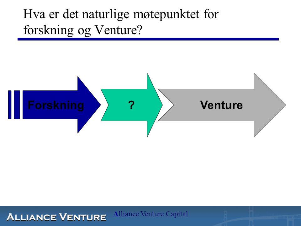 Alliance Venture Capital Hva er det naturlige møtepunktet for forskning og Venture.