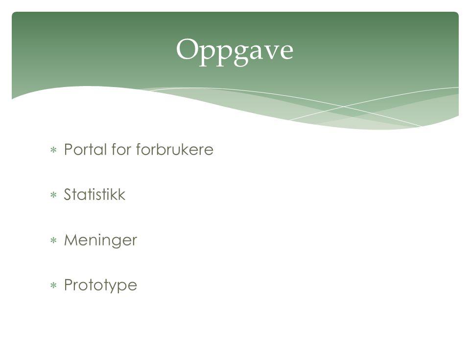  Portal for forbrukere  Statistikk  Meninger  Prototype Oppgave