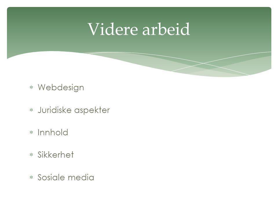  Webdesign  Juridiske aspekter  Innhold  Sikkerhet  Sosiale media Videre arbeid