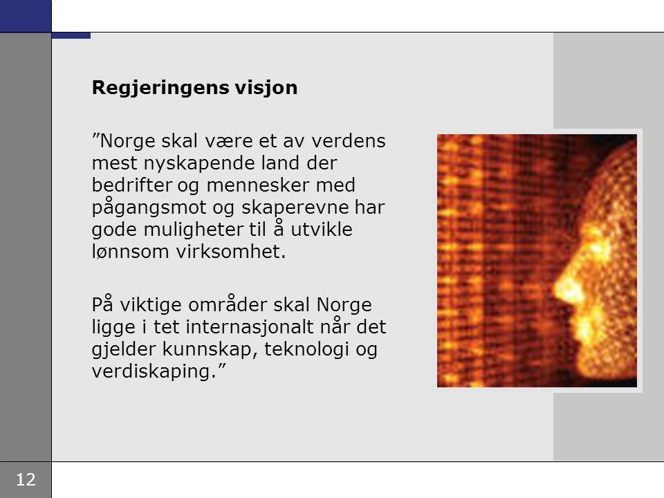 """12 Regjeringens visjon """"Norge skal være et av verdens mest nyskapende land der bedrifter og mennesker med pågangsmot og skaperevne har gode muligheter"""