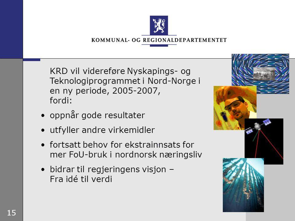 15 KRD vil videreføre Nyskapings- og Teknologiprogrammet i Nord-Norge i en ny periode, 2005-2007, fordi: oppnår gode resultater utfyller andre virkemi