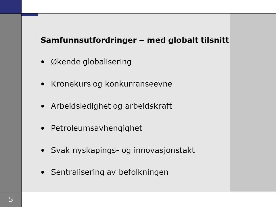 5 Samfunnsutfordringer – med globalt tilsnitt Økende globalisering Kronekurs og konkurranseevne Arbeidsledighet og arbeidskraft Petroleumsavhengighet