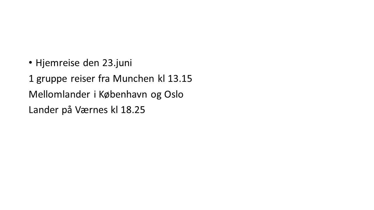 Hjemreise den 23.juni 1 gruppe reiser fra Munchen kl 13.15 Mellomlander i København og Oslo Lander på Værnes kl 18.25