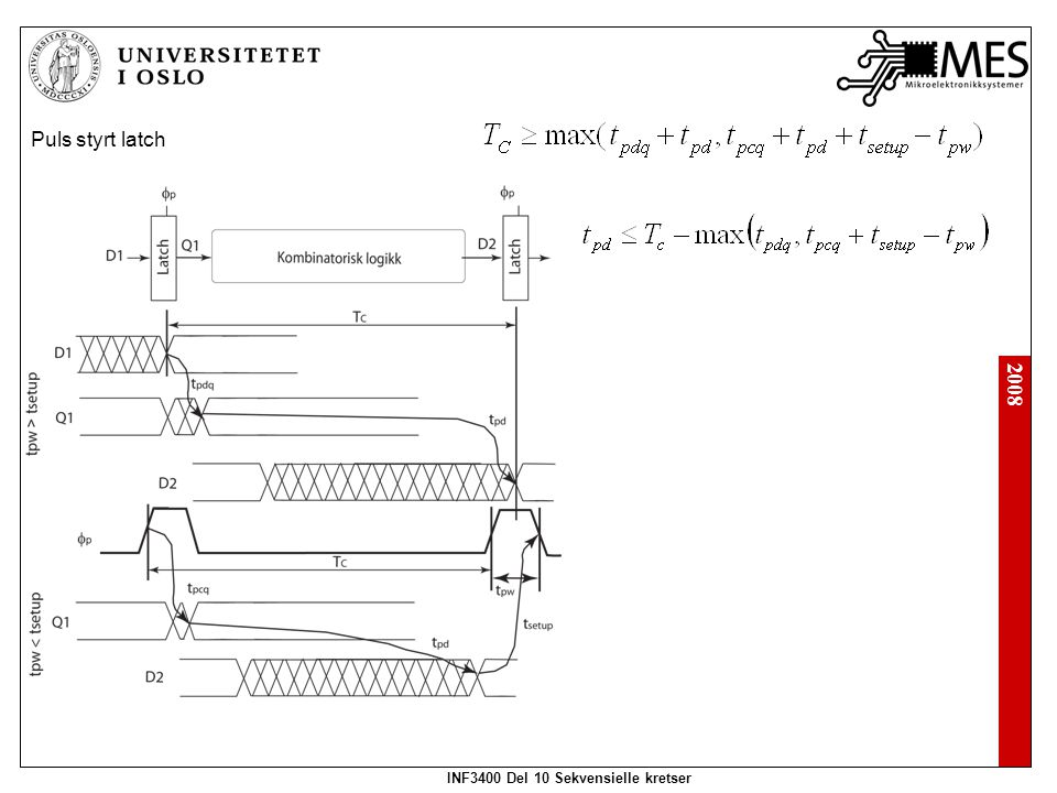 2008 INF3400 Del 10 Sekvensielle kretser Puls styrt latch