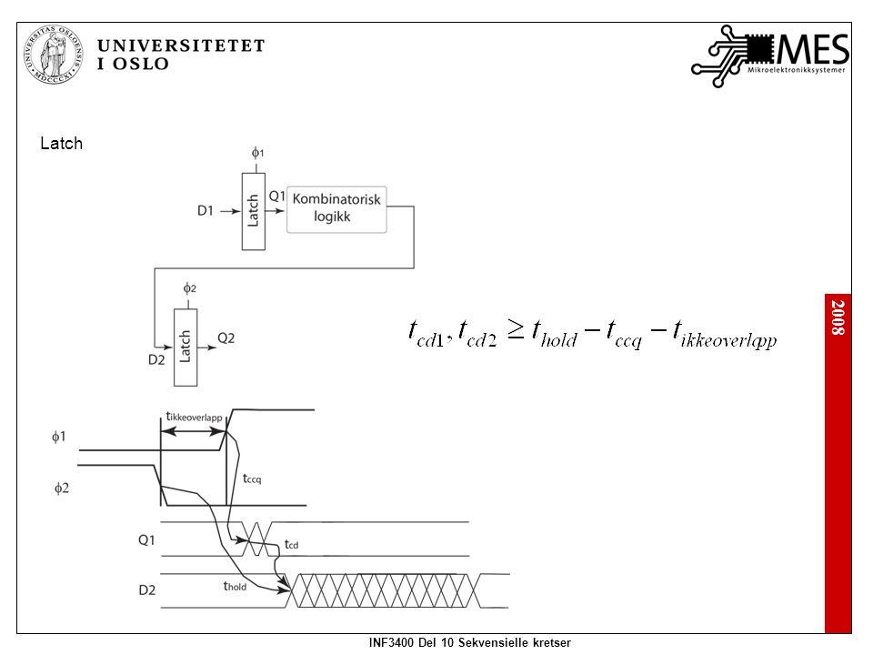 2008 INF3400 Del 10 Sekvensielle kretser Latch