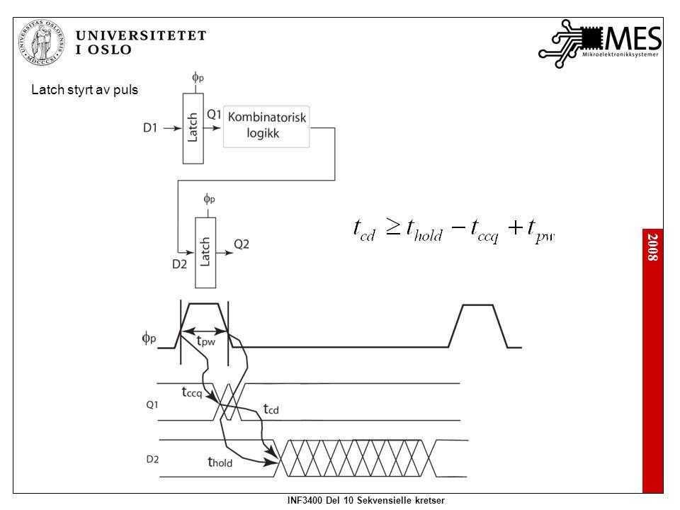 2008 INF3400 Del 10 Sekvensielle kretser Latch styrt av puls