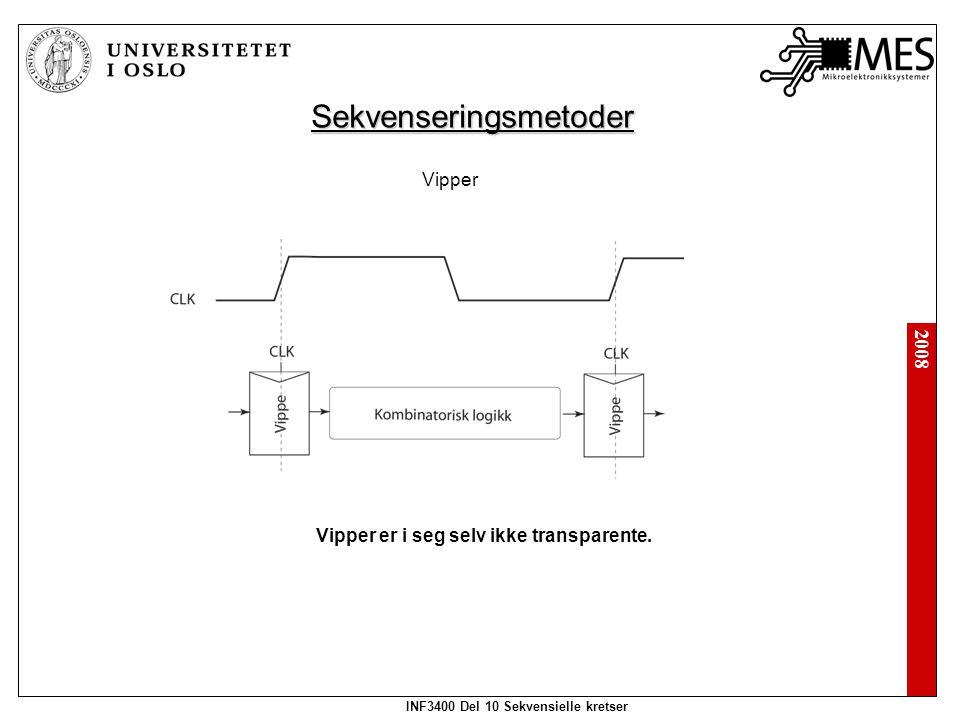 2008 INF3400 Del 10 Sekvensielle kretser Sekvenseringsmetoder Vipper Vipper er i seg selv ikke transparente.