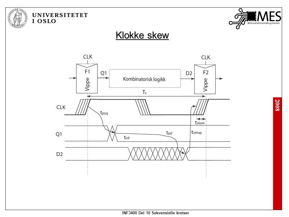 2008 INF3400 Del 10 Sekvensielle kretser Klokke skew