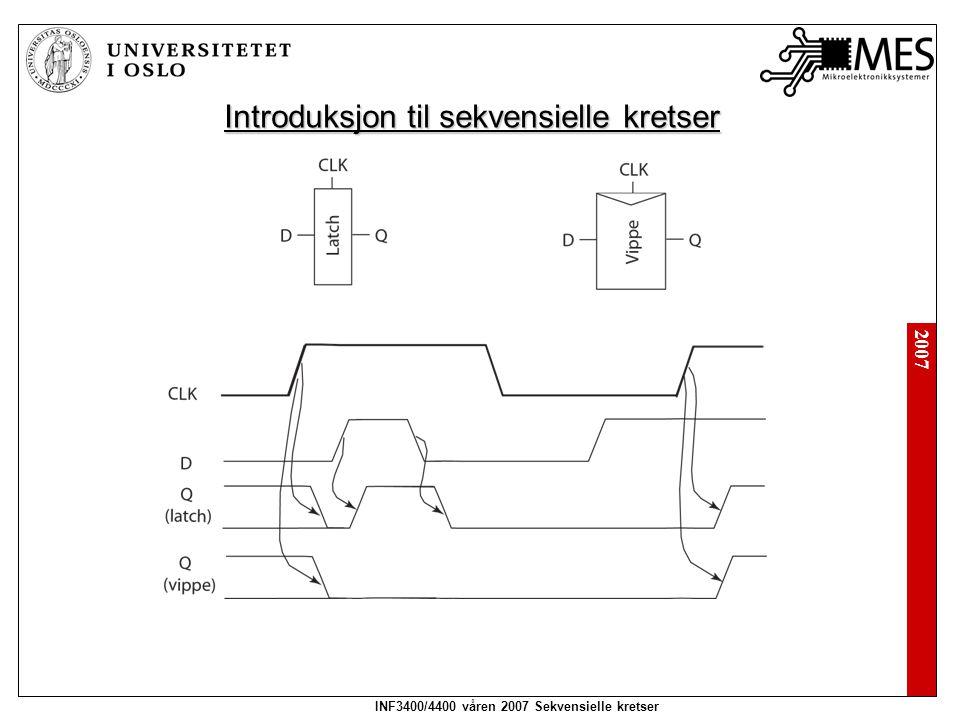 2007 INF3400/4400 våren 2007 Sekvensielle kretser Introduksjon til sekvensielle kretser