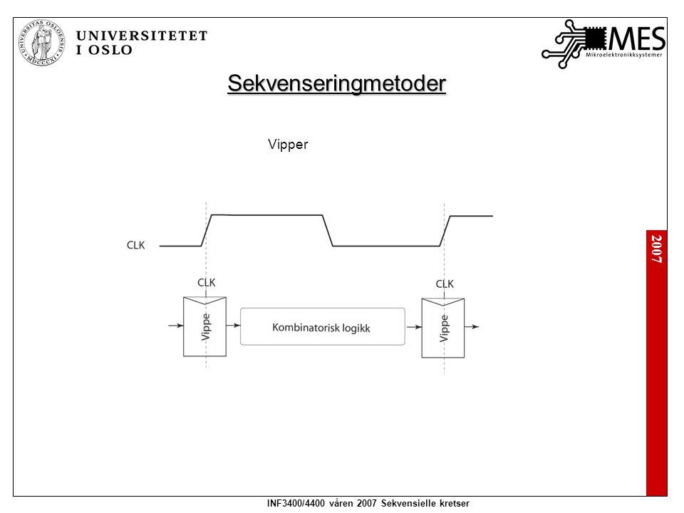 2007 INF3400/4400 våren 2007 Sekvensielle kretser Sekvenseringmetoder Vipper