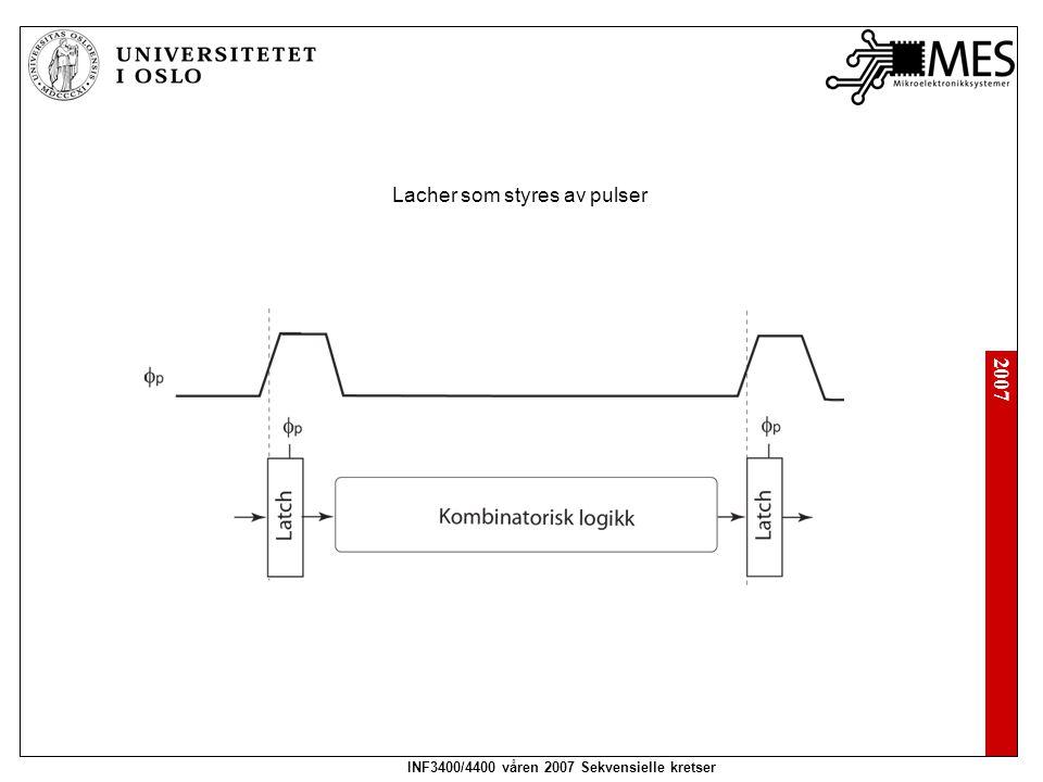 2007 INF3400/4400 våren 2007 Sekvensielle kretser Oppgave 7.3 Bestem minimum logisk contamination forsinkelse for hver klokkeperiode (halve klokkeperioden for to-fase latcher) for følgende sekvenseringsmetoder: 1.