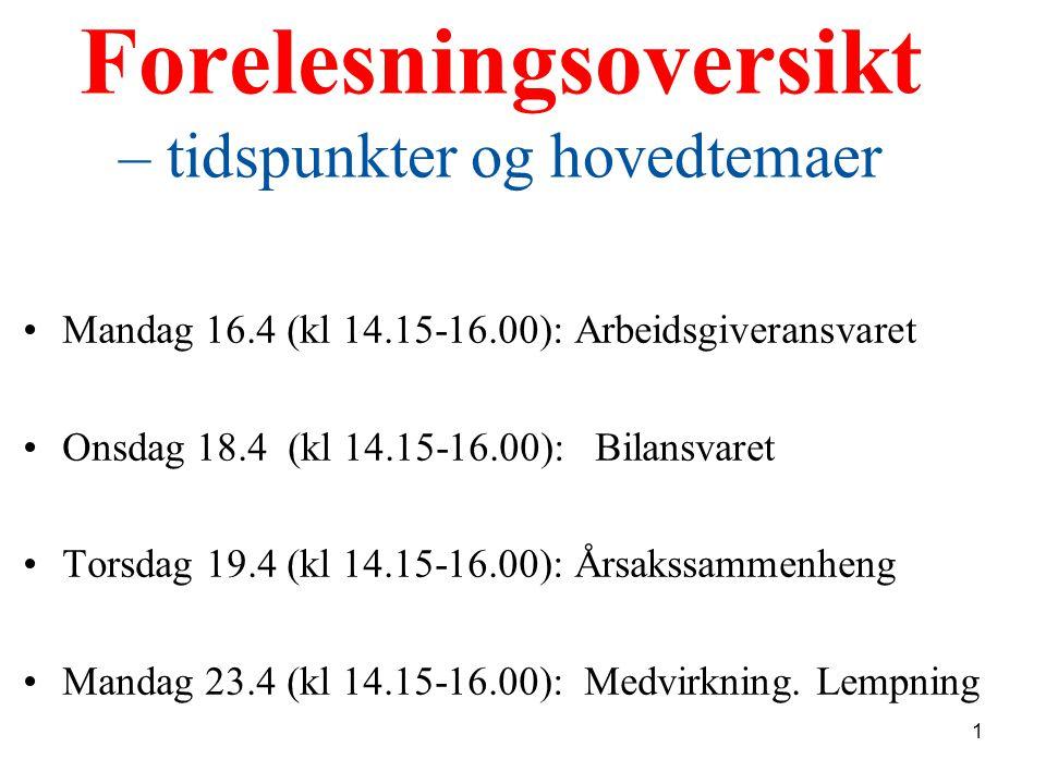 Forelesningsoversikt – tidspunkter og hovedtemaer Mandag 16.4 (kl 14.15-16.00): Arbeidsgiveransvaret Onsdag 18.4 (kl 14.15-16.00): Bilansvaret Torsdag
