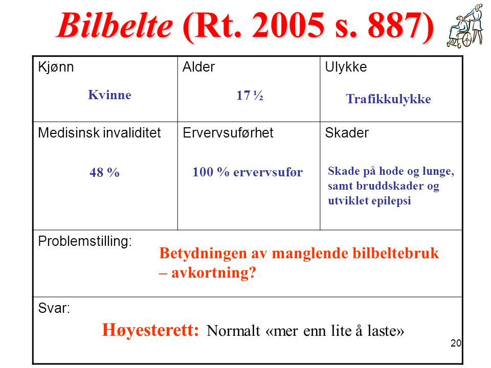 Kvinne 48 % 17 ½ Trafikkulykke 100 % ervervsufør Bilbelte (Rt. 2005 s. 887) KjønnAlderUlykke Medisinsk invaliditetErvervsuførhetSkader Problemstilling