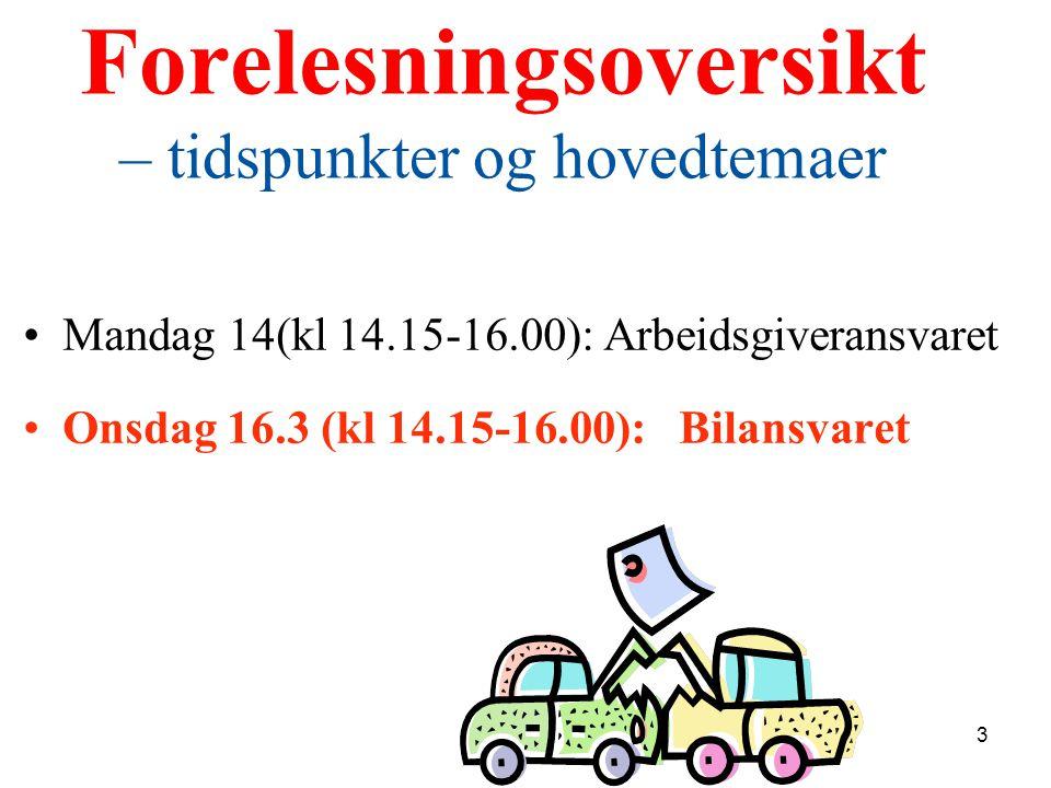 Forelesningsoversikt – tidspunkter og hovedtemaer Mandag 14(kl 14.15-16.00): Arbeidsgiveransvaret Onsdag 16.3 (kl 14.15-16.00): Bilansvaret 3
