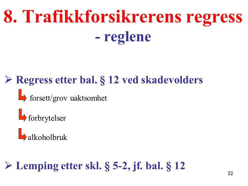 8. Trafikkforsikrerens regress - reglene  Lemping etter skl. § 5-2, jf. bal. § 12  Regress etter bal. § 12 ved skadevolders forsett/grov uaktsomhet