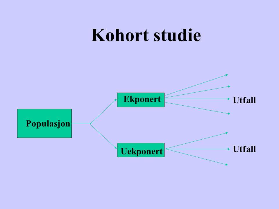 Kohort study Studiepopulasjonene er definert på bakgrunn av ekposisjonen Utfall sammenlignes i gruppene med og uten eksposisjon eller risikofaktor Vanligvis er prospektivt forløp