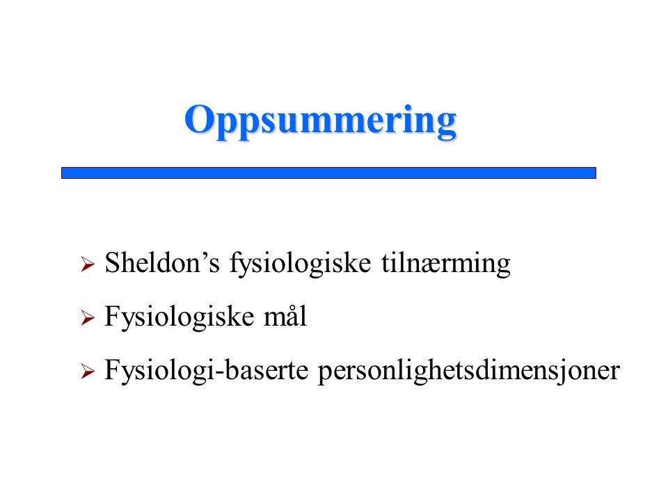  Sheldon's fysiologiske tilnærming  Fysiologiske mål  Fysiologi-baserte personlighetsdimensjoner Oppsummering