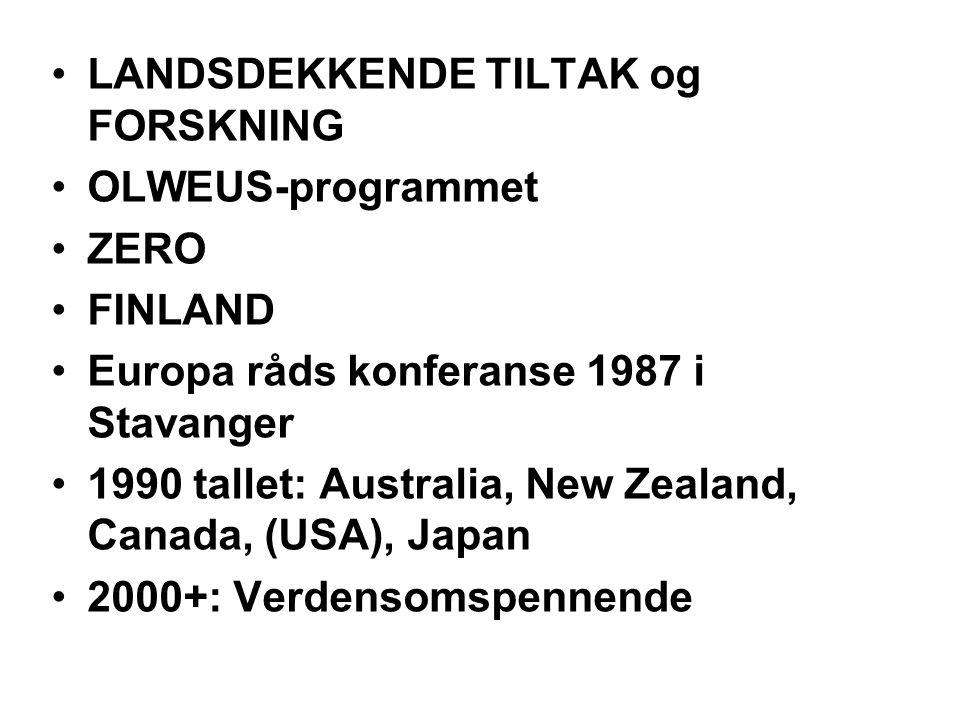 LANDSDEKKENDE TILTAK og FORSKNING OLWEUS-programmet ZERO FINLAND Europa råds konferanse 1987 i Stavanger 1990 tallet: Australia, New Zealand, Canada,