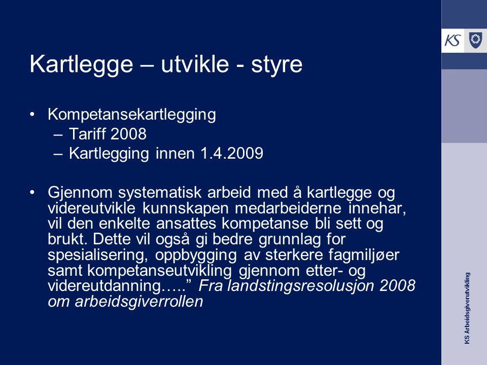 KS Arbeidsgiverutvikling Kartlegge – utvikle - styre Kompetansekartlegging –Tariff 2008 –Kartlegging innen 1.4.2009 Gjennom systematisk arbeid med å k