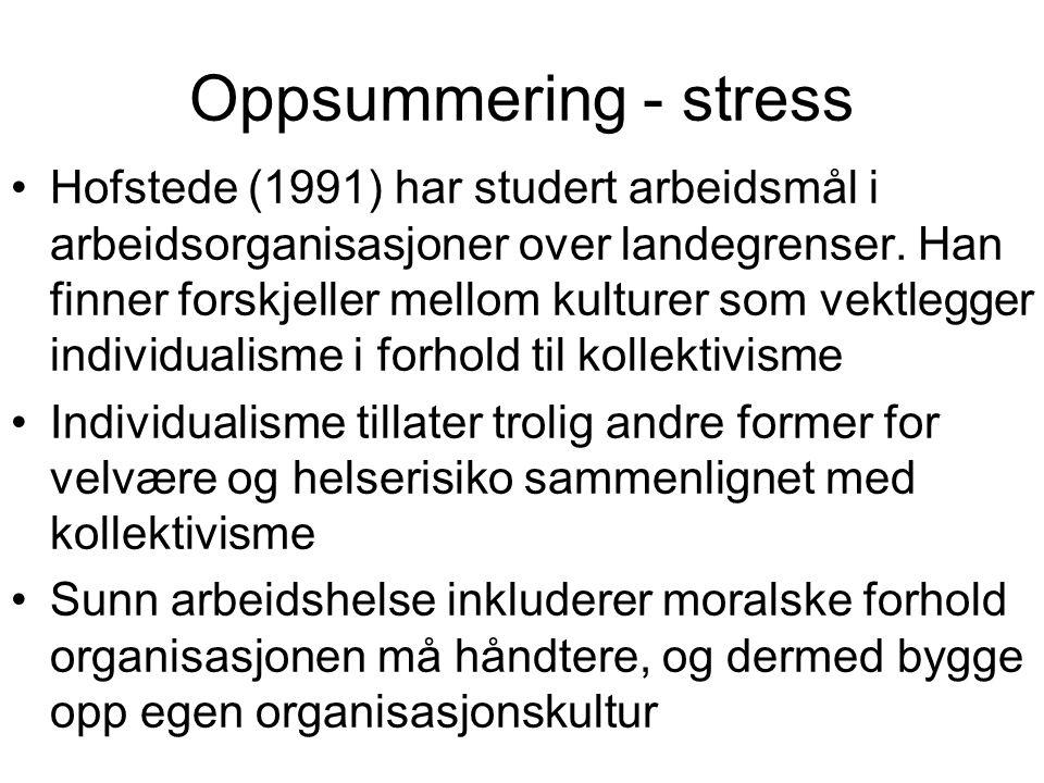 Oppsummering - stress Hofstede (1991) har studert arbeidsmål i arbeidsorganisasjoner over landegrenser. Han finner forskjeller mellom kulturer som vek