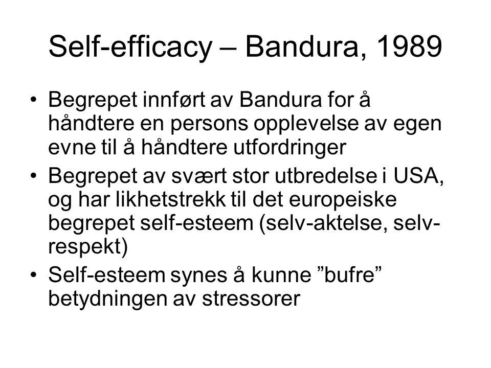 Self-efficacy – Bandura, 1989 Begrepet innført av Bandura for å håndtere en persons opplevelse av egen evne til å håndtere utfordringer Begrepet av sv