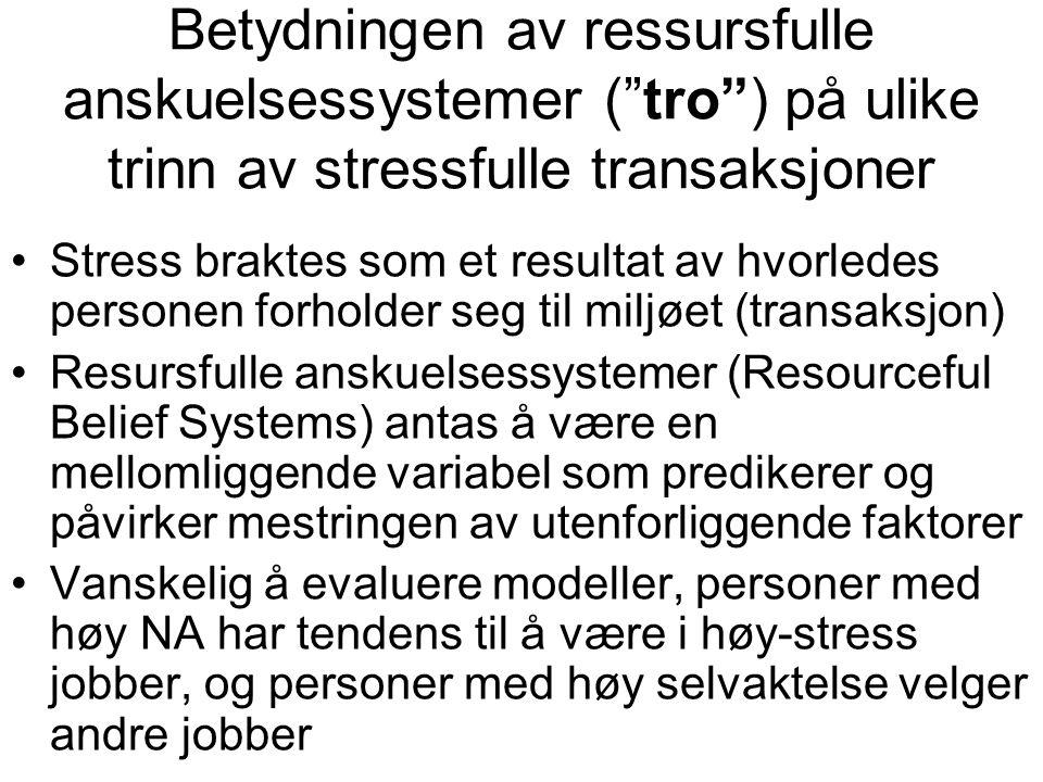 """Betydningen av ressursfulle anskuelsessystemer (""""tro"""") på ulike trinn av stressfulle transaksjoner Stress braktes som et resultat av hvorledes persone"""