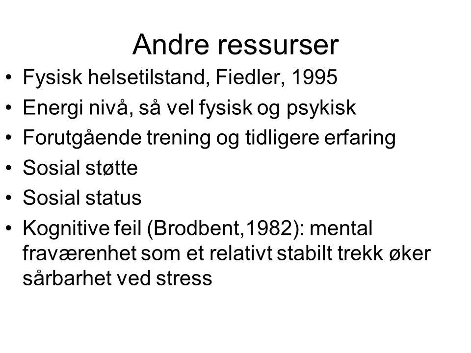 Andre ressurser Fysisk helsetilstand, Fiedler, 1995 Energi nivå, så vel fysisk og psykisk Forutgående trening og tidligere erfaring Sosial støtte Sosi