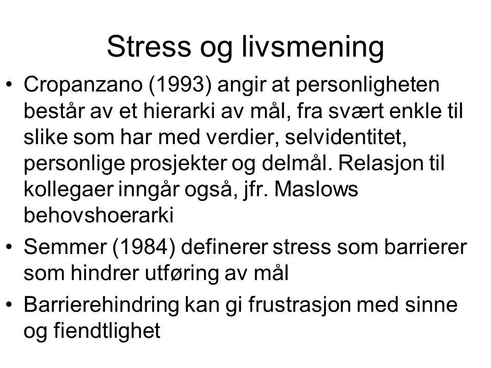 Stress og livsmening Cropanzano (1993) angir at personligheten består av et hierarki av mål, fra svært enkle til slike som har med verdier, selvidenti