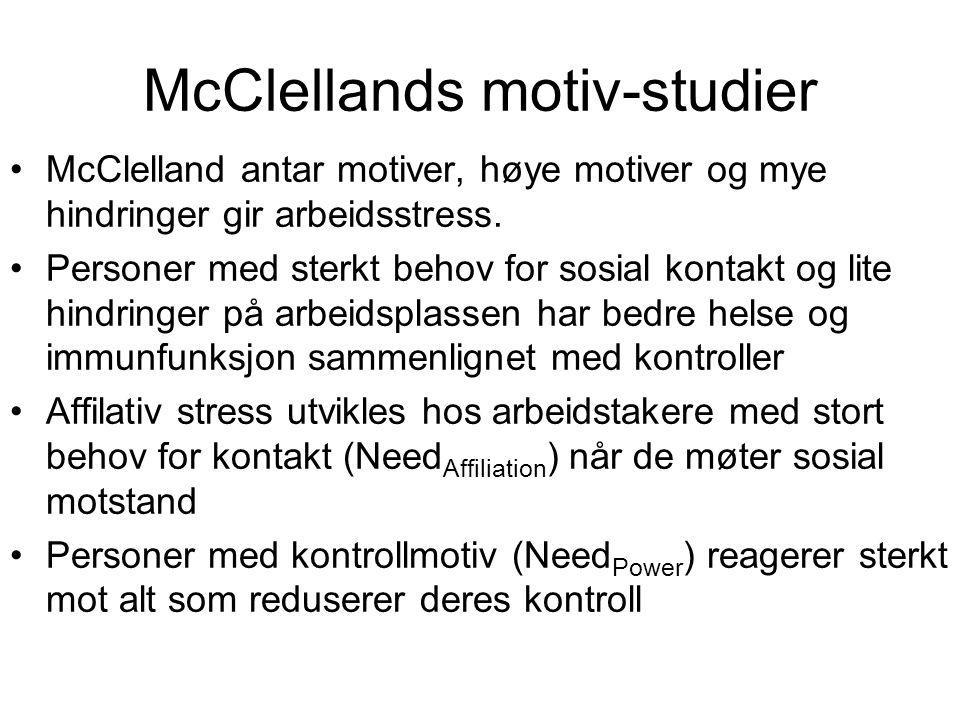 McClelland antar motiver, høye motiver og mye hindringer gir arbeidsstress. Personer med sterkt behov for sosial kontakt og lite hindringer på arbeids