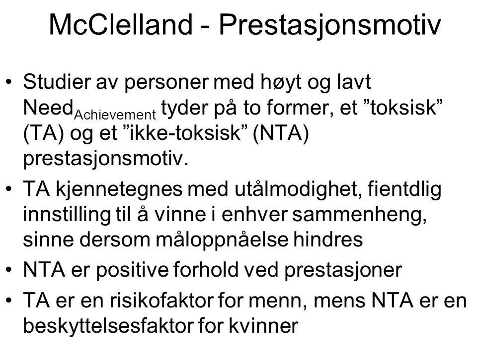 """McClelland - Prestasjonsmotiv Studier av personer med høyt og lavt Need Achievement tyder på to former, et """"toksisk"""" (TA) og et """"ikke-toksisk"""" (NTA) p"""