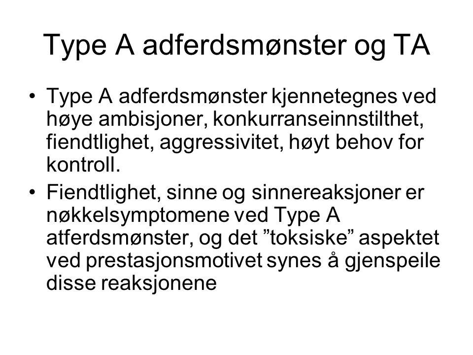 Type A adferdsmønster og TA Type A adferdsmønster kjennetegnes ved høye ambisjoner, konkurranseinnstilthet, fiendtlighet, aggressivitet, høyt behov fo