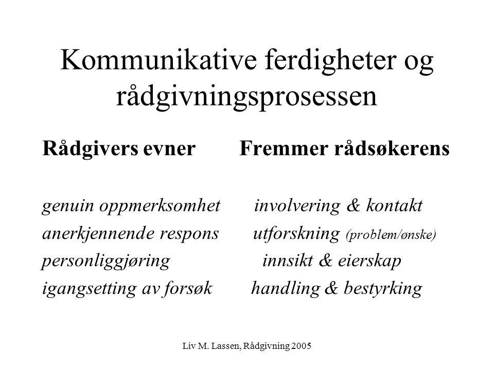 Liv M. Lassen, Rådgivning 2005 Kommunikative ferdigheter og rådgivningsprosessen Rådgivers evner Fremmer rådsøkerens genuin oppmerksomhet involvering