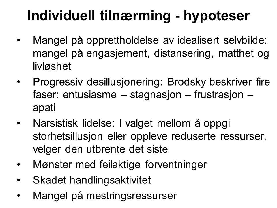 Individuell tilnærming - hypoteser Mangel på opprettholdelse av idealisert selvbilde: mangel på engasjement, distansering, matthet og livløshet Progre