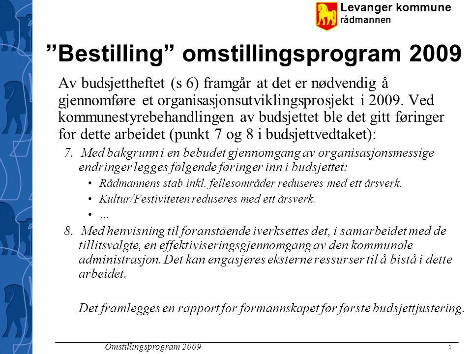 Levanger kommune rådmannen Omstillingsprogram 2009 1 Bestilling omstillingsprogram 2009 Av budsjettheftet (s 6) framgår at det er nødvendig å gjennomføre et organisasjonsutviklingsprosjekt i 2009.