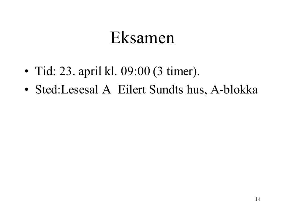 14 Eksamen Tid: 23. april kl. 09:00 (3 timer). Sted:Lesesal A Eilert Sundts hus, A-blokka