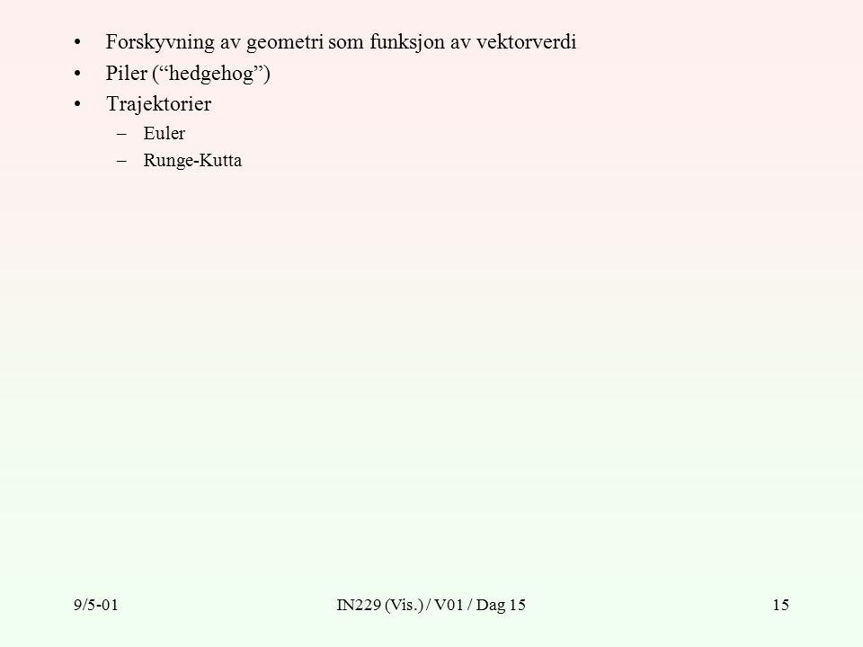 9/5-01IN229 (Vis.) / V01 / Dag 1515 Forskyvning av geometri som funksjon av vektorverdi Piler ( hedgehog ) Trajektorier –Euler –Runge-Kutta