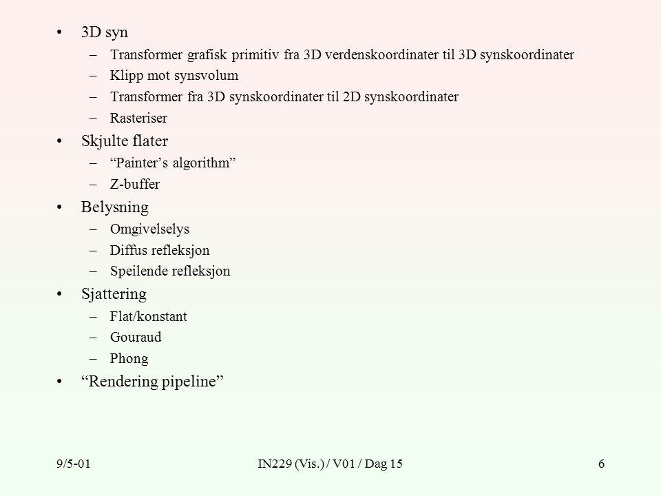 9/5-01IN229 (Vis.) / V01 / Dag 156 3D syn –Transformer grafisk primitiv fra 3D verdenskoordinater til 3D synskoordinater –Klipp mot synsvolum –Transformer fra 3D synskoordinater til 2D synskoordinater –Rasteriser Skjulte flater – Painter's algorithm –Z-buffer Belysning –Omgivelselys –Diffus refleksjon –Speilende refleksjon Sjattering –Flat/konstant –Gouraud –Phong Rendering pipeline