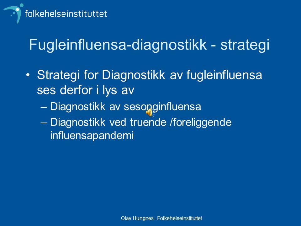 Olav Hungnes - Folkehelseinstituttet Diagnostikk av uvanlig influensa Overvåking og diagnostikk av influensavirus må kunne påvise de virus som er vanlig forekommende hos mennesker men også nye eller uvanlige former.