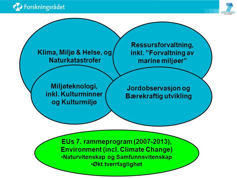 """Klima, Miljø & Helse, og Naturkatastrofer Ressursforvaltning, inkl. """"Forvaltning av marine miljøer"""" Miljøteknologi, inkl. Kulturminner og Kulturmiljø"""