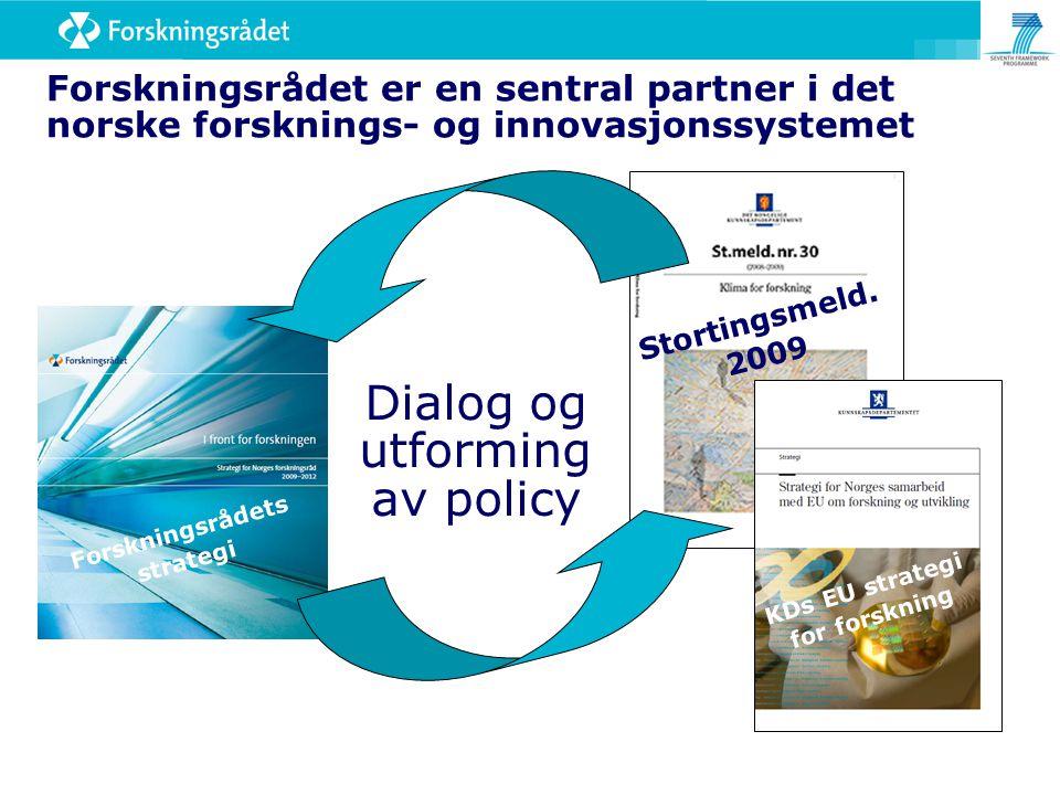 Dialog og utforming av policy Forskningsrådet er en sentral partner i det norske forsknings- og innovasjonssystemet Stortingsmeld. 2009 KDs EU strateg