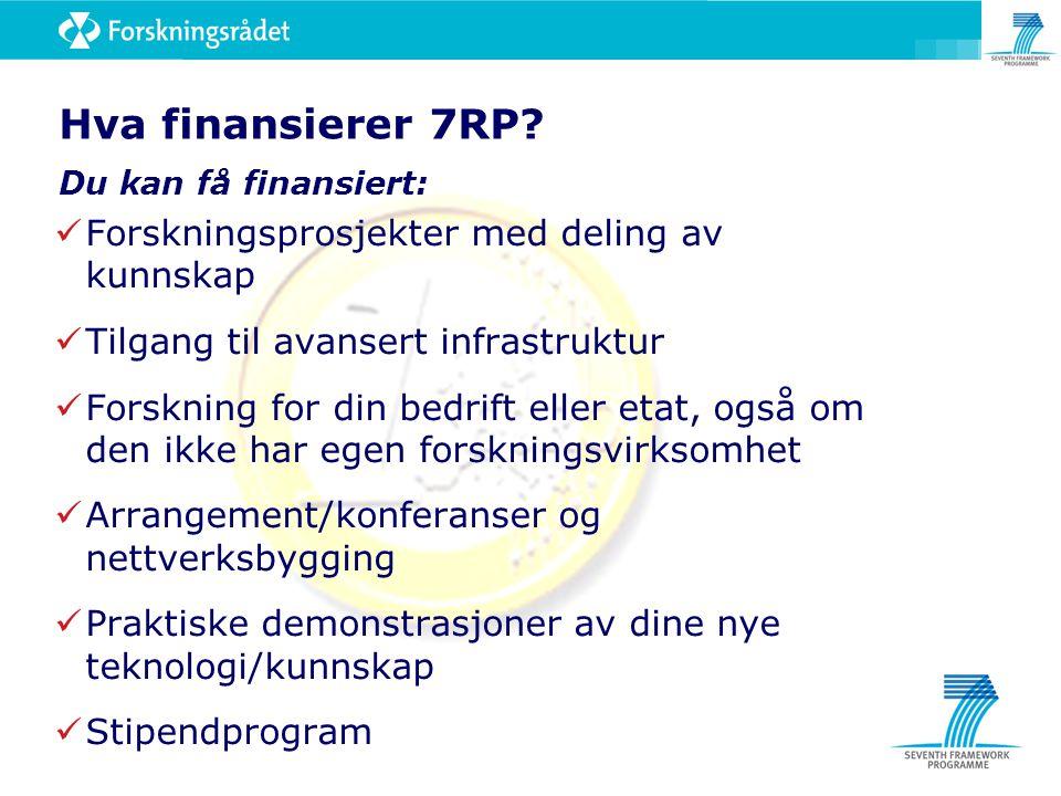 Hva finansierer 7RP? Du kan få finansiert: Forskningsprosjekter med deling av kunnskap Tilgang til avansert infrastruktur Forskning for din bedrift el
