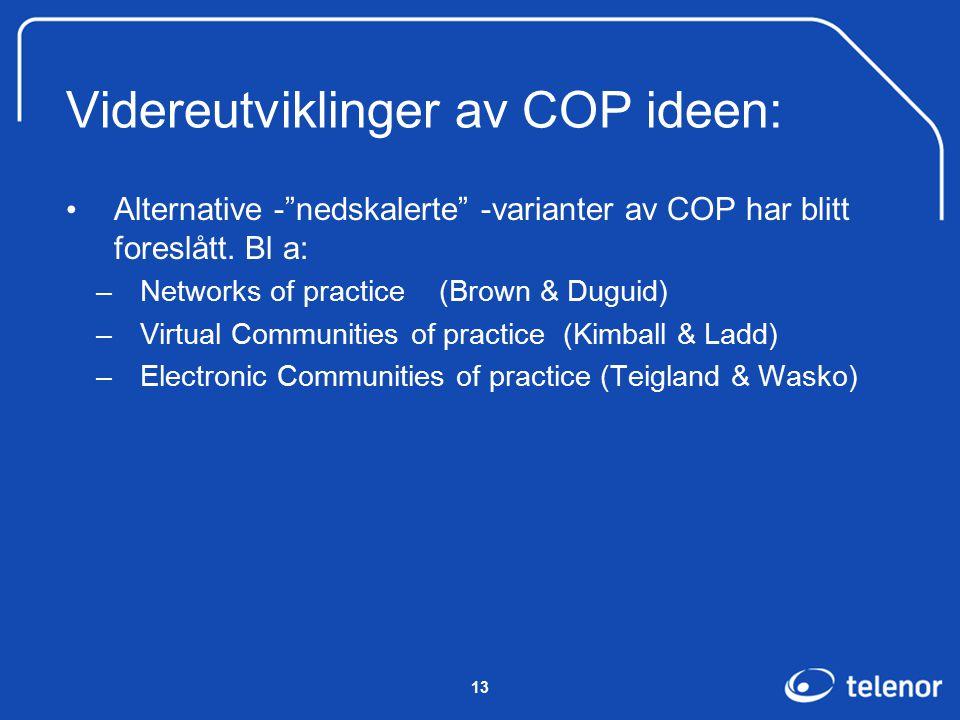13 Videreutviklinger av COP ideen: Alternative - nedskalerte -varianter av COP har blitt foreslått.
