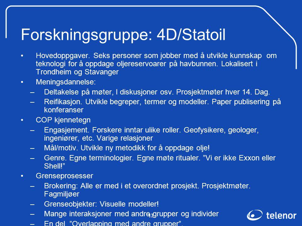 17 Forskningsgruppe: 4D/Statoil Hovedoppgaver.
