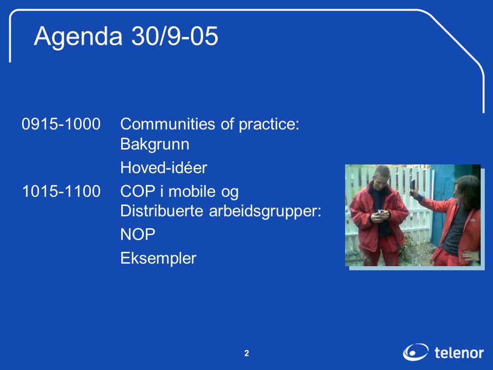 2 Agenda 30/9-05 0915-1000Communities of practice: Bakgrunn Hoved-idéer 1015-1100COP i mobile og Distribuerte arbeidsgrupper: NOP Eksempler