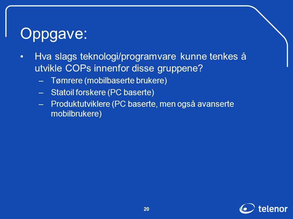 20 Oppgave: Hva slags teknologi/programvare kunne tenkes å utvikle COPs innenfor disse gruppene.