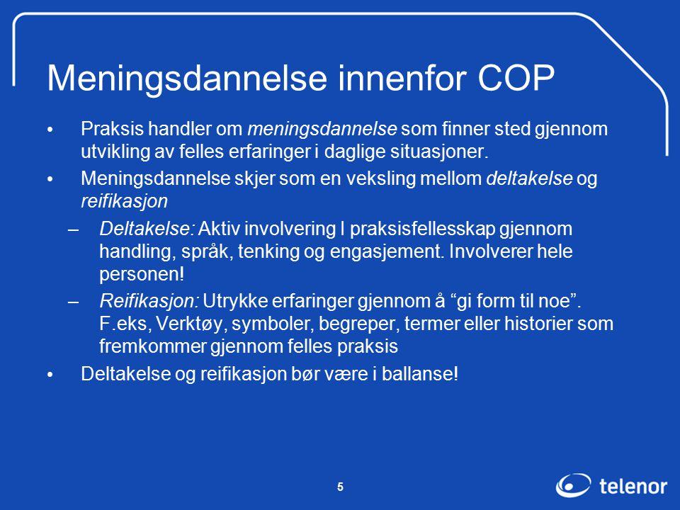 5 Meningsdannelse innenfor COP Praksis handler om meningsdannelse som finner sted gjennom utvikling av felles erfaringer i daglige situasjoner.